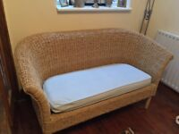 Wicker rattan woven conservatory furniture set - sofa, chair, table/storage stool. Good condition