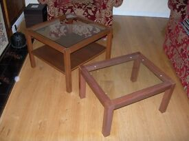 TWO LIGHT MAHOGANY OCCASIONAL/ COFFEE TABLES WITH GLASS TOPS