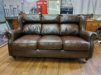 STUNNING VICTORIAN STYLE CHESTERFIELD CHESTNUT BROWN REAL LEATHER 3 SEATER SOFA
