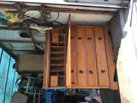 Very old and stunning solid oak bureau desk with a unmarked tan leather top/drawers