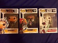 Star Wars Funko Pop Vinyl Figures (Ahsoka, Sabine, General Grievous)
