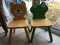Children's frog & bear wooden chairs £15 for pair