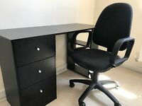 **Black wooden office desk - LIKE NEW** (Collection only)