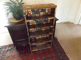 SET OF WOODEN SHELVES WITH COLOURED DECORATION 1M IN HEIGHT