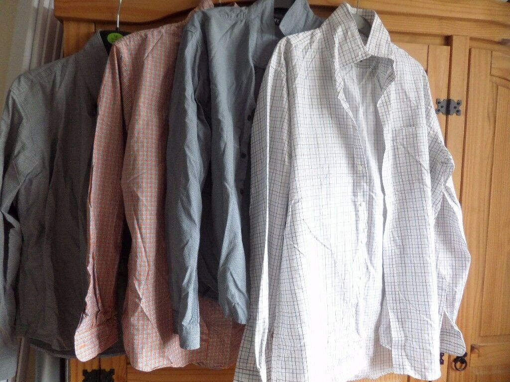 4 MENS LONG SLEEVE SHIRTS SIZE LARGE - GOOD USED CONDITION - NEED WASH AND IRON.