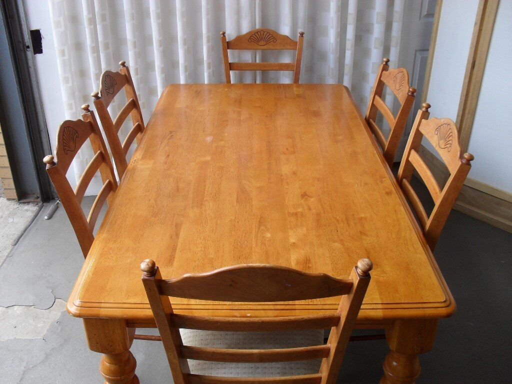 MALAYSIAN SOLID WOODEN FARMHOUSE STYLE DINING TABLE WITH ...
