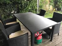 Argos Keter Iowa Rattan 4 Seater Garden Dining Set - Graphite