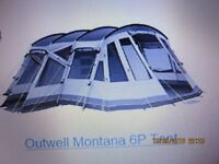 Outwell Montana 6P Tent 3 openings carpet and footprint strong steel poles