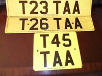 T23 TTA, T26 TTA and T45 TTA - Personalised Number Plates