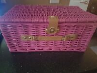 Pink wicker Picnic Basket