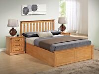 NEW OAK OR WHITE DOUBLE/KING WOODEN OTTOMAN STORAGE BED + DEEP QUILT OR 2000 POCKET SPRUNG MATTRESS