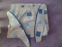 Lined curtains for sale,blue/grey/beige pattern with tie backs