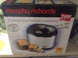 Morphy Richards Fastbake Breadmaker (Stainless steel and black finish) nearly new