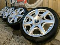 """17"""" BENTLEY STYLE ALLOY WHEELS AND TYRES 5X100 PCD SKODA MK4 POLO"""