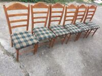 Set of 6 pine chairs