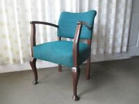 VINTAGE MAHOGANY BEDROOM CHAIR CARVER CHAIR