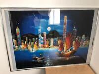 Painting of Hong Kong in frame