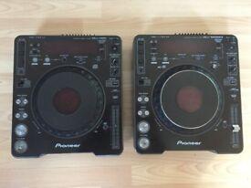 Pair of Pioneer CDJ 1000s (mk3 & mk1) + pair of wood stands
