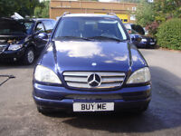 LEFT HAND DRIVE MERCEDES ML 320 4X4 PETROL 2000 METALLIC BLUE/GREY LEATHER VERY NICE