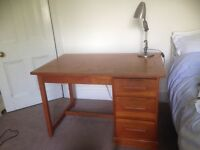 Solid wood desk with 3 drawers seen three generations through exams and university