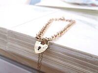 Vintage 9ct Yellow Gold Curb Link Love Heart Padlock Charm Bracelet