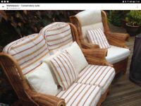 FINAL REDUCTION!! Lovely Wicker Conservatory Sofa and 2 armchairs £90