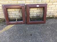 Pair of mahogany window frames.