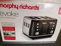 NEW IN BOX - MORPHY Richards Evoke 4 Slice Toaster Black & Chrome