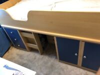 CABIN BED MID SLEEPER WITH THREE DRAWERS AND CUPBOARD