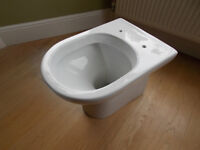 Back to wall toilet with D shape soft close seat, Victoria plumbing