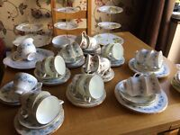 Job lot of bone chine cups and saucers cake stands