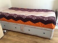 Single bed with Mattress and 2 base Drawers