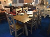Brand new - Large Designer Trestle Table And 6 Matching Chairs rrp £1195