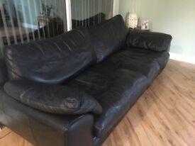 Black Leather 4 seater sofa, swivel love seat & footstool