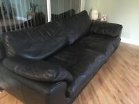 Black Leather 4 seater sofa, swivel love seat & footstool