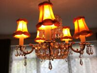 GOLD EFFECT CENTRE CEILING 5 ARM CHRYSTAL CHANDELIER