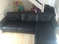 Black Leather Corner Sofa with Sofa Bed and Storage