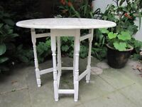 Small solid Oak hand painted drop leaf table - shabby chic