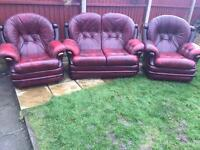 Chesterfield monks sofa & armchairs 3 piece suite oxblood leather. FREE DELIVERY