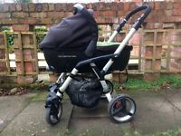 Travel system with lie flat car seat