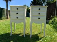Pair of Elegant French Louis Style Wooden 3 Drawer Bedside Tables / Cabinets – Great Condition
