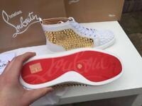 Christian Louboutin Louis Spikes   White & Gold   Size EU 42 (UK 8)