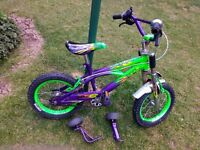 "Boys 14"" bike with stabilisers"