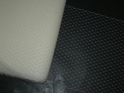 """White birdcage bridal veil netting french birdcage 9"""" hat net 24 inches long"""