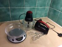 Hand mixer, blender and electronic scales