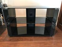 TV stand modern corner unit with built in cable tidy.