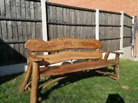 Solid, heavy, Handmade Wooden Garden Furniture Oak Elm - Bench