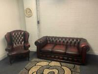 SOLD Beautiful OX-BLOOD Chesterfield set 3 seater & king Ann chair delivery 🚚 sofa suite couch