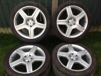 Mercedes AMG Alloy Wheels 19 INCH, white Tyres like New, 5x112 19, ORGINAL MERCEDES GENUINE