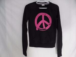PINK VICTORIA'S SECRET xs size extra small black sweatshirt pullover, peace symbol print on front,PINK print back EUC
